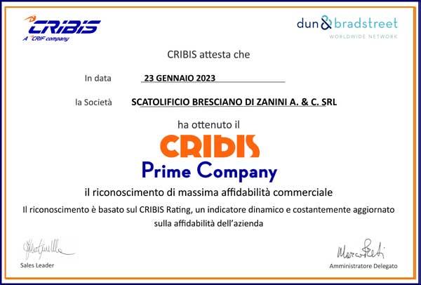 scatolificio cribis certificato affidabilita commerciale